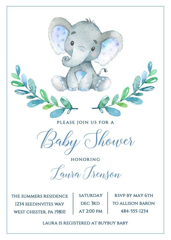 Tarjetas De Baby Shower : tarjetas, shower, Elephant, Shower, Invitation, Safari, Invitations,, Theme,