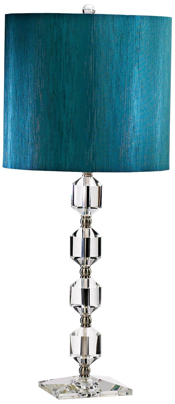 Wh wholesale vintage lead crystal table lamp buy cheap - Hanover Teal Shade Clear Crystal Table Lamp Lampsplus Com