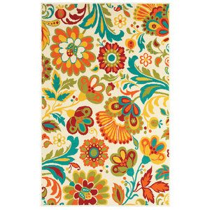 """Shaw Rugs Al Fresco Beige Floral Rug Rug Size: 7'10"""" x 10'6"""" $159.96"""