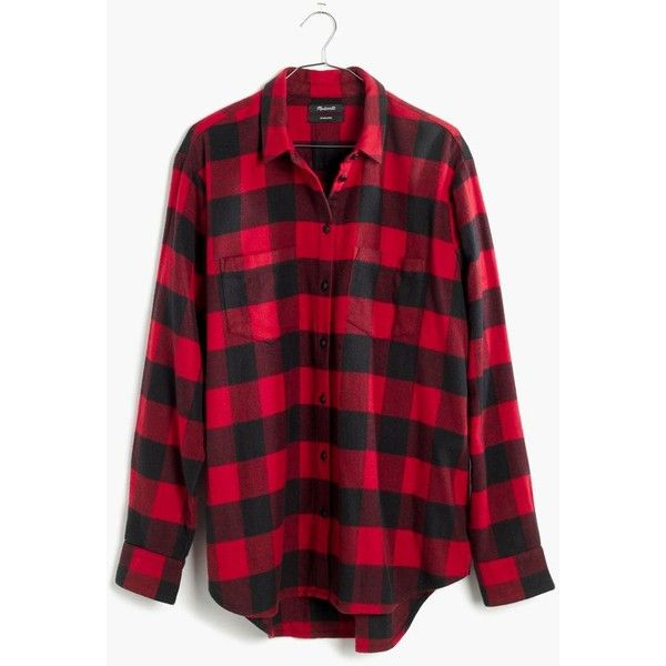 MADEWELL Flannel Oversized Ex-Boyfriend Shirt in Buffalo Check (100 CAD) ❤ liked on Polyvore featuring tops, red sangria, red button down shirt, red top, red flannel shirt, button up shirts and buffalo plaid flannel shirt