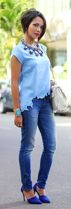 Pretty baby blue scalloped hem top,  jeans, blue pumps and blue bracelet along with lovely statement necklace