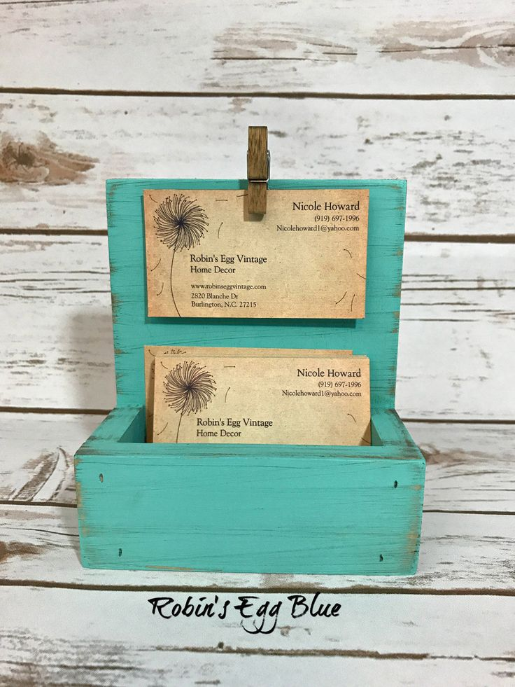 Farmhouse Business Card Holder//Shabby Chic Business Card Display//French Country Decor//Turquoise//Available in a Variety of Colors by robinseggvintageNC on Etsy