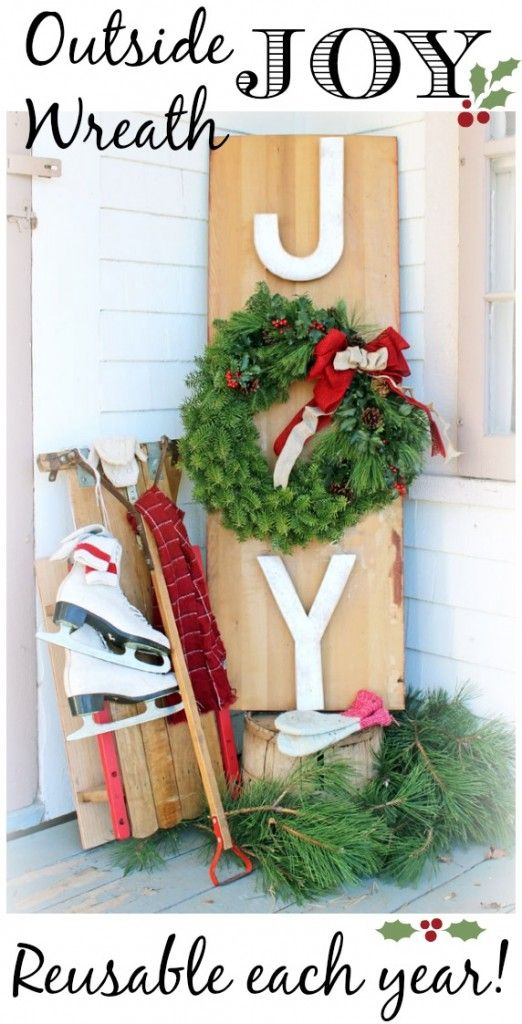 DIY Outside Joy Wreath ~ use it year after year regardless of the wreath you choose to display on it