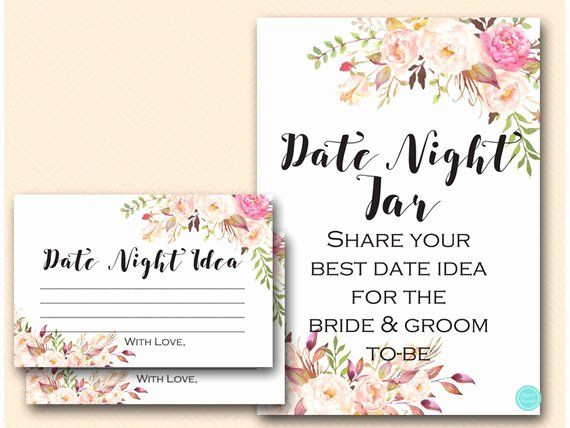 Date Night Invitation Template Awesome Boho Floral Date Night Jar Card And Sign Date Night Ideas Bridal Shower Signs Bridal Shower Theme Floral Bridal Shower