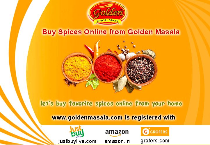 """""""Buy Spices Online from Golden Masala Company""""  Here, www.goldenmasala.com is registered also with www.justbuylive.com / www.amazon.in / www.grofers.com to give you a great shopping experience.  You can buy spices online at your home and save your precious time. Ranges of pure and hygienic spices are produced by Golden Masala, best spices manufacturers in delhi, to help you for cooking best foods or dishes.  Let's call at Toll Free No. 18002700504 for more information…"""
