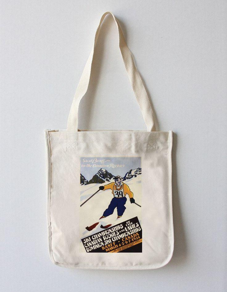 Tote Bag (Banff, Canada - Ski Championships - Vintage Travel Poster)