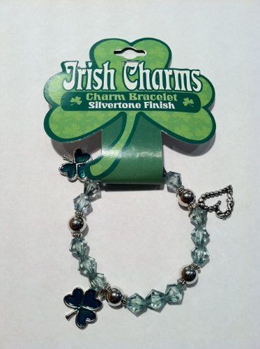 """Irish Charms Charm Bracelet - Shamrocks and Hearts DM Merchandising. $9.99. Silver and Green beads.. Stretch bracelet style.. Charms are approximately 1/2"""" wide.. Has Shamrock and Heart Charms. Makes a Great Gift."""