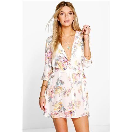 Košilové květinové šaty Savannah BOOHOO velký