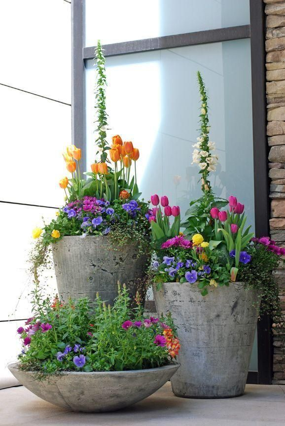 Spruce up your outdoor space with bright potted blooms. Make these cement pots!  House is dark gray - perfect with colorful plants along with some bright pots and some black pots