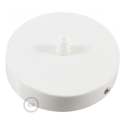 Kit rosace cylindre blanc 120 mm, fixation, vis et serre-câble