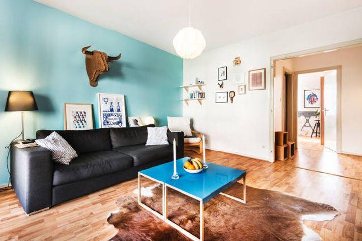 Peinture de cuisine meuble cuisine bleu canard peinture - Peinture interieur appartement ...