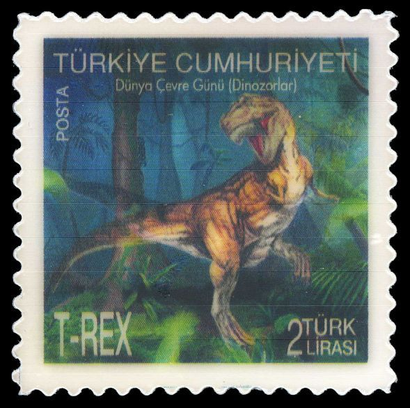 Lenticular stamp, depict running T-Rex . First hologram-motion stamps from Turkey,circa 2012