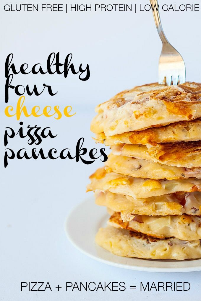 Healthy Four Cheese Pizza Pancakes- This secretly healthy recipe marries two of everyone's favourite foods- Pizza and pancakes. With four cheeses within them, these thin and crispy pancakes are much lower in fat and calories than a typical slice of pizza- Combining wholegrains with protein and healthy fats for balanced meal! @thebigmansworld - thebigmansworld.com