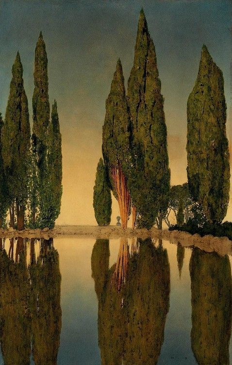 The Reservoir at Villa Falconieri, Frascati, Maxfield Parrish. There's a buncha Parrish in here: such beautiful light!