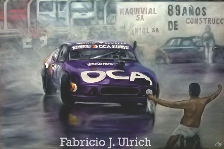 """""""Entrando Cruzado"""" óleo sobre tela 120x80. Homenaje al Juan María Traverso. Victoria en la última fecha del año 1994, bajo la lluvia. Chevy N° 140. Autódromo """"Oscar Galvez"""" - Buenos Aires (11/12/94)."""