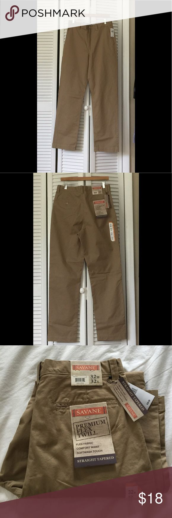 NWT khaki pants 32W, 32L NEW with tags khaki pants Men 32W and 32L. Flat front. Very comfortable fabric. Goes with everything Savane Pants Chinos & Khakis