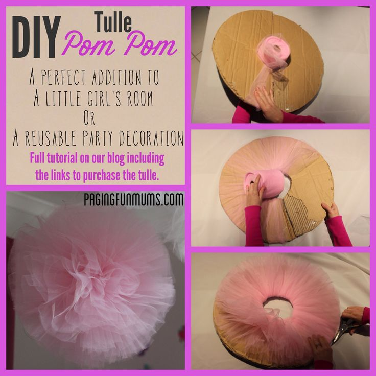 How to make your own Tulle Pom Pom – perfect for a party or kids room decoration! I have experimented with a few ways of making these and this method has always had the best results. What you'll need – Strong clear fishing line (we used 50lb leader) Roll of 6inch wide tulle – we …
