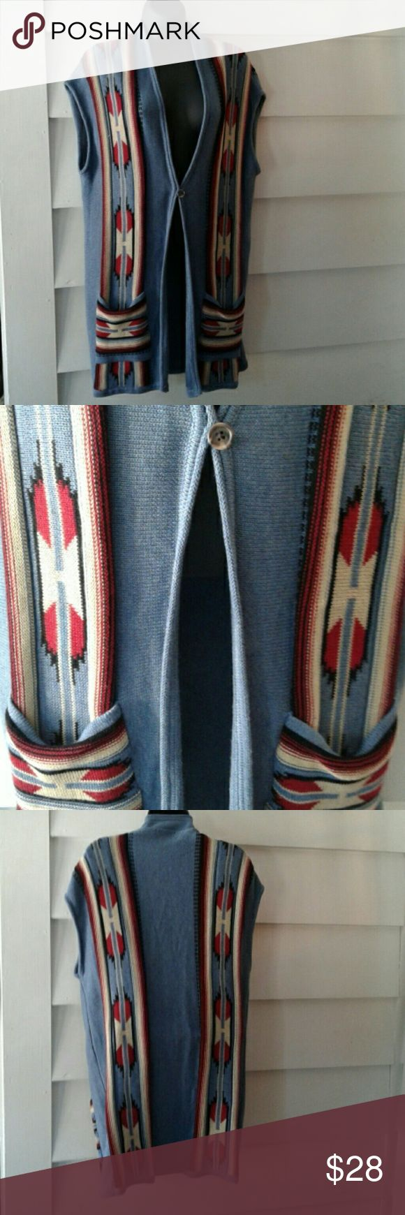 """Chaps Sweater Vest Beautiful Southwestern design. 78% cotton, 22% polyester. Machine wash. Underarm to underarm approx 23"""". Neck to hem (as pictured) approx 33"""". Chaps Sweaters"""