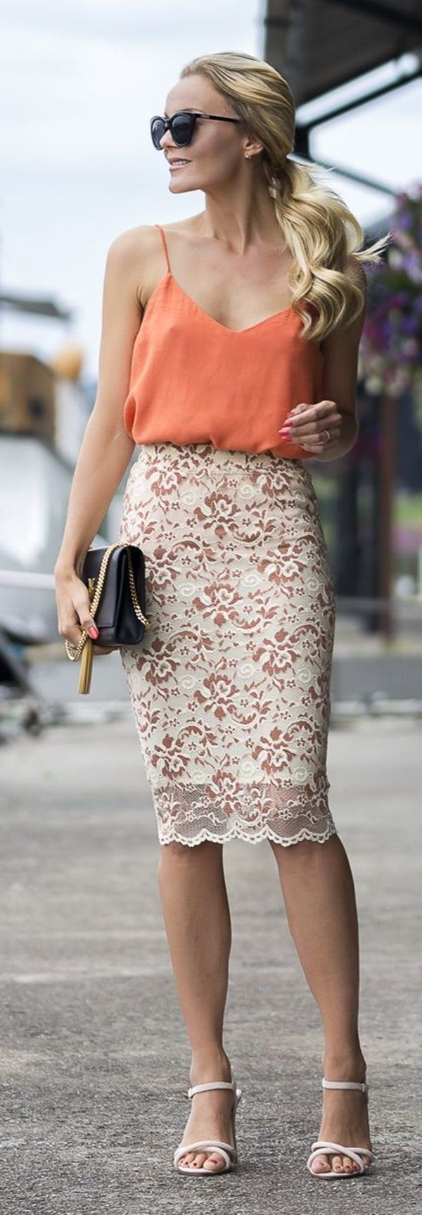 Peach top with beautiful cream lace skirt