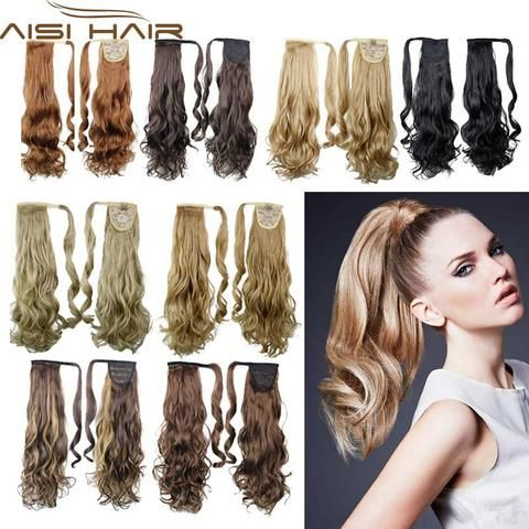 "22"" Synthetic Hair Long Wavy Clip In Ribbon Ponytail Hair Extensions c – nantahalas"