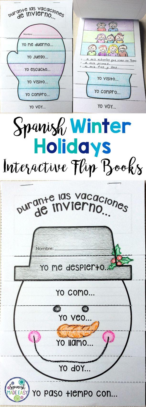 Spanish Winter Holidays Flip Books with sentence starters.