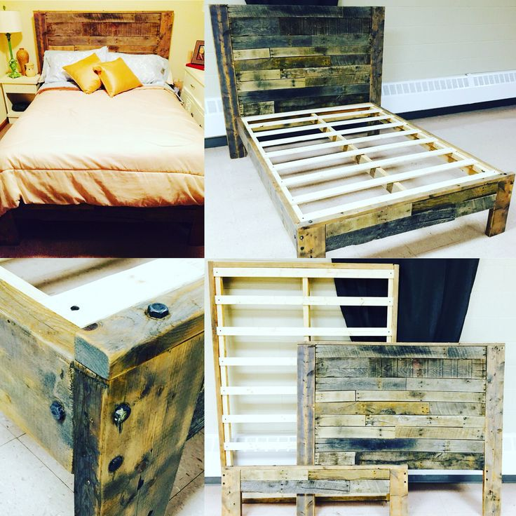 Rustic Platform Bed with Pallet Wood Headboard & Footboard