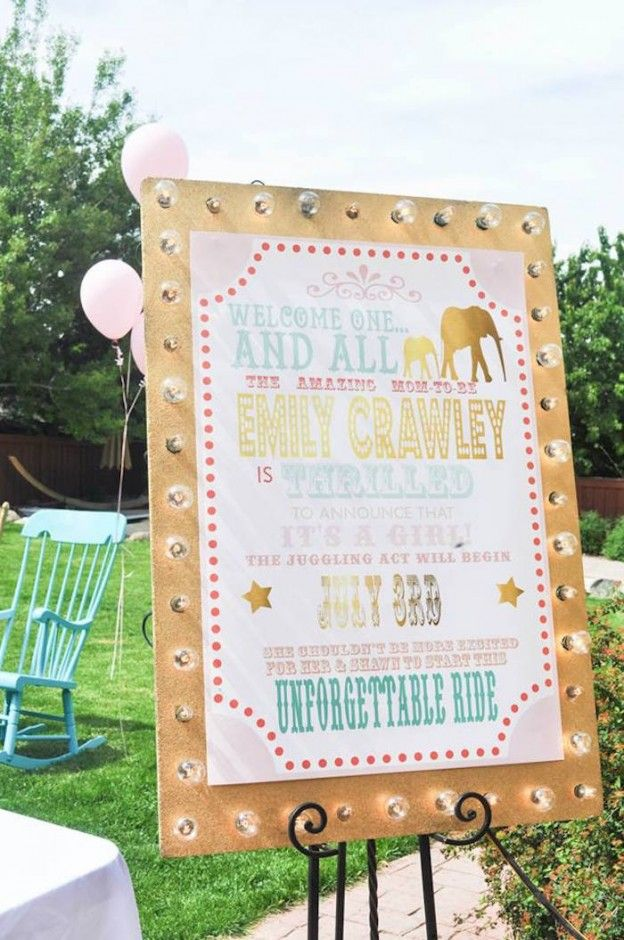 Marquee Welcome sign from a Circus + Carnival Baby Shower via Kara's Party Ideas! KarasPartyIdeas.com (24)