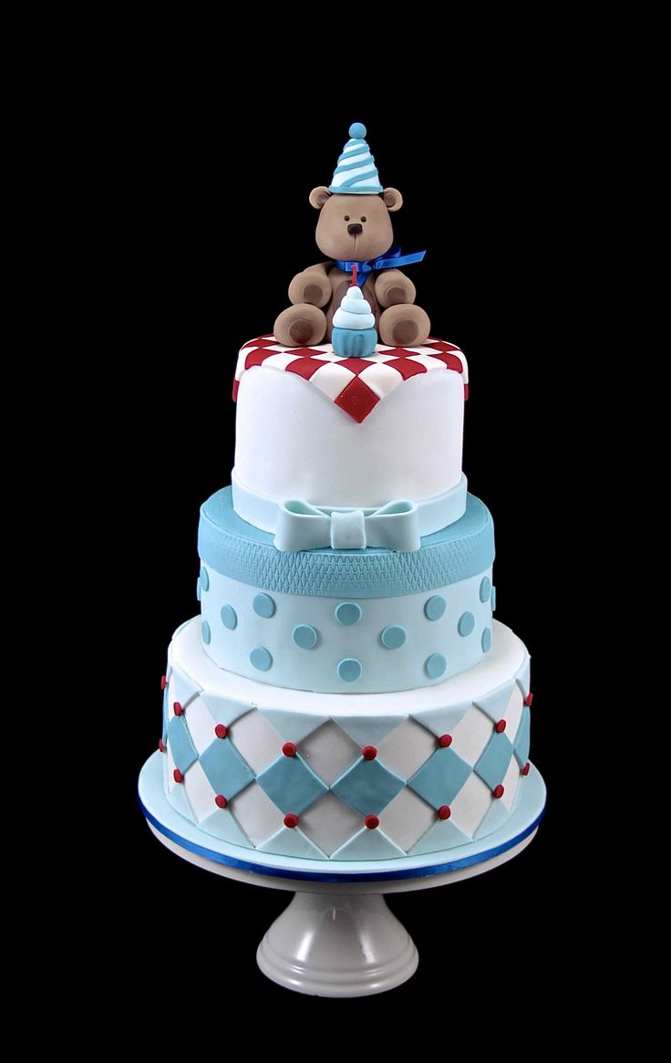 Teddy Bear Picnic Cake - 3 tiers first birthday cake