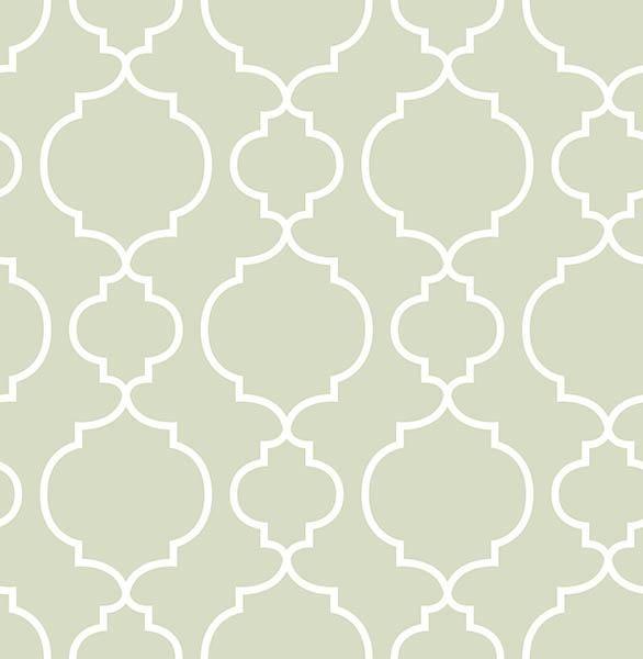 Desiree Sage Quatrefoil - Wallpaper