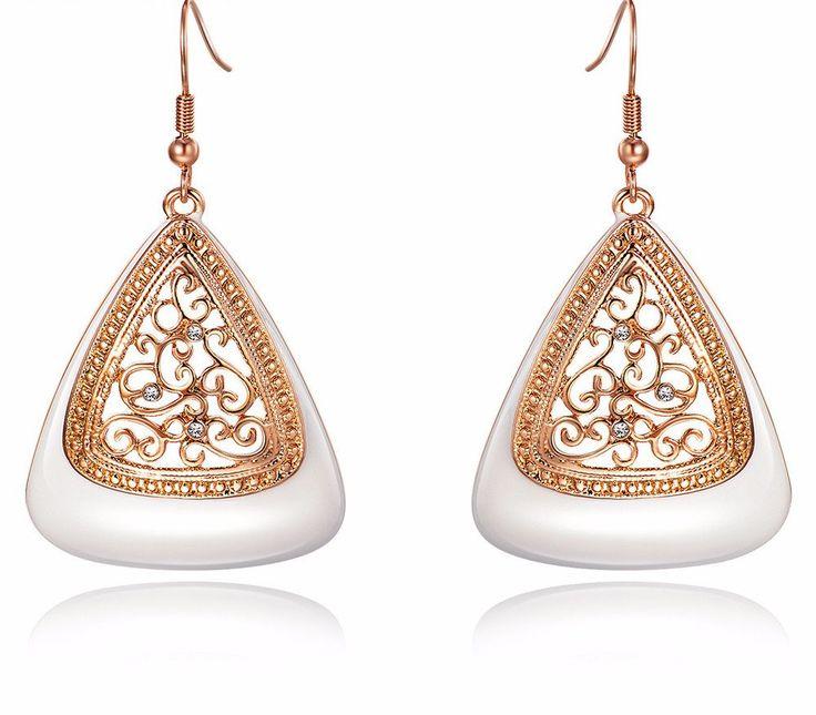 Women Fashion Jewelry Rose Gold Color Long Dangle Earrings for Women Rhinestone Hollow Flower Enamel Drop Earrings Jewelry