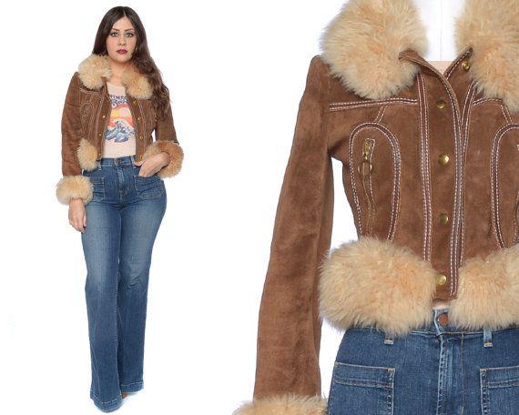Fur Collar Jacket 70s Suede Crop Jacket Gold by GravelGhostVintage