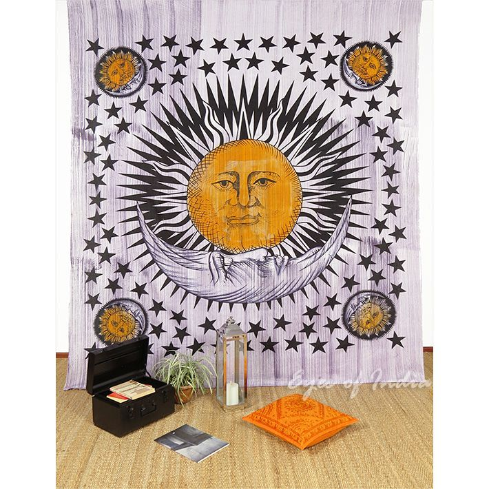Sun and Moon Tapestry Bedspread Wall Hanging - Queen/Double