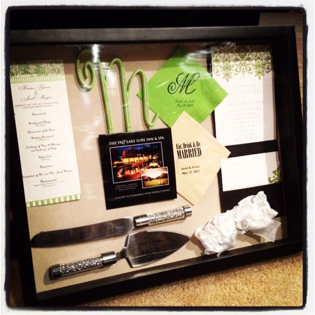 Shadow Box With Our Wedding Keepsakes Knife Favor Jar Or Sticker
