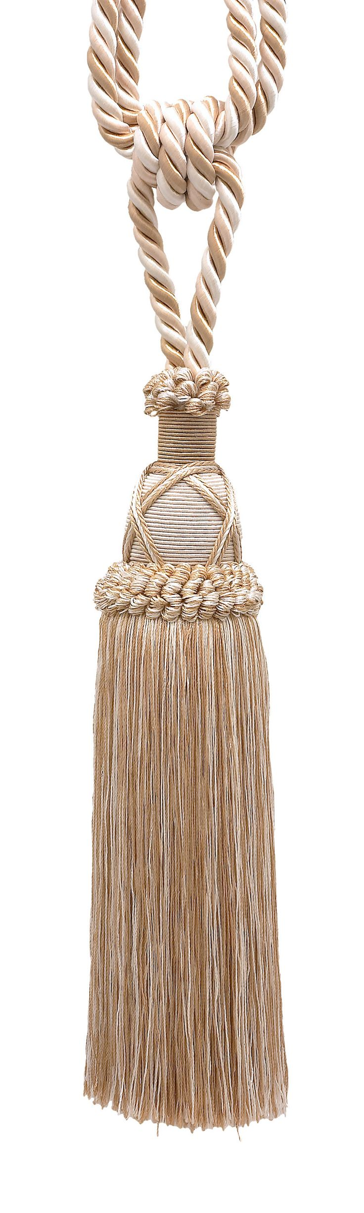 """Beautiful Ivory, Light Beige Curtain & Drapery Tassel Tieback / 10"""" tassel, 30 1/2"""" Spread (embrace), 3/8"""" Cord, Imperial II Collection Style# TBIC-1 Color: WHITE SANDS - 4001"""