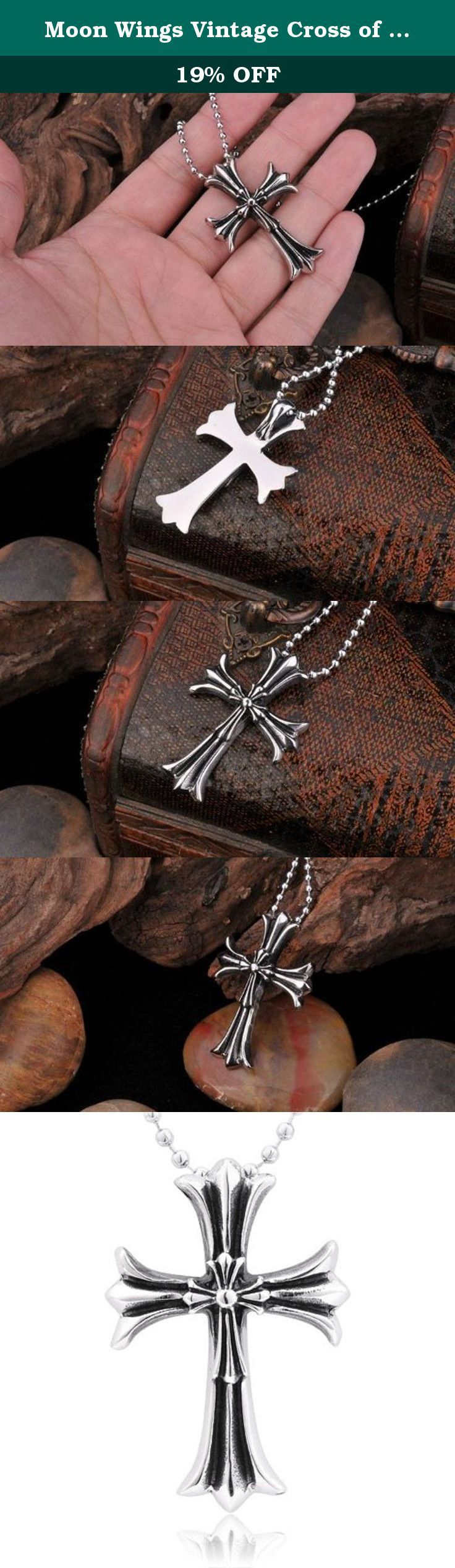 Moon Wings Vintage Cross of Christ Jesus Stainless Steel Pendant with Necklace. This is a solid Pendant; Pendant Size: 45MM X 31MM; Necklace Length 60CM or 23.6 inches: Free Luxury jewelry box will be provided.