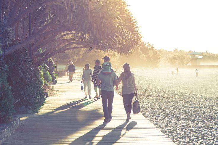 Along the boardwalk in Noosa at sunset  (Sunshine Coast, Queensland, Australia).