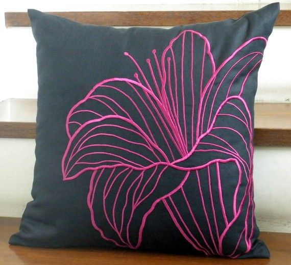 Pillow Cover,  Decorative Pillow Cover,  Black Linen Pillow Cover,Deep Purple FLower, Embroidered,  Pillow Accent