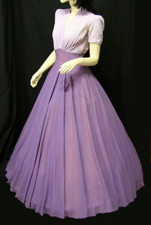 ~Ceil Chapman~late 40s early 50s lavender purple pink gown evening wear fashion dress color photo print designer couture