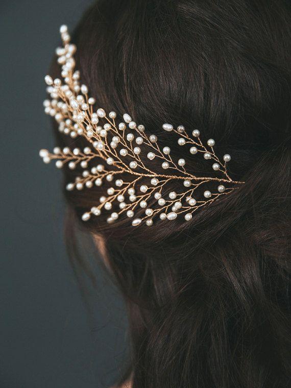 Gold Bridal Headpiece Pearl Bridal Hair Comb by DavieandChiyo