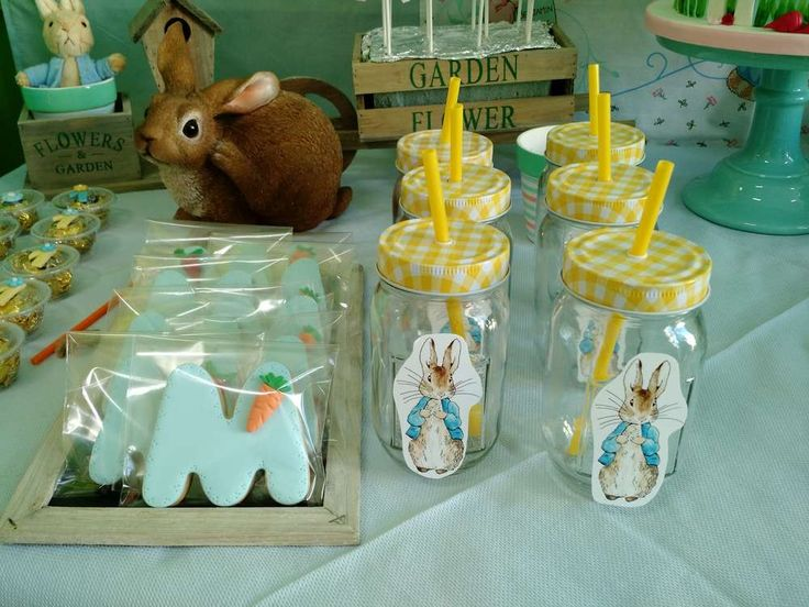Cookies and drinks at a Peter Rabbit birthday party! See more party planning ideas at CatchMyParty.com!