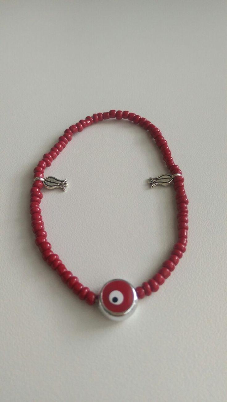 Bracelet, ❤coral evil eye