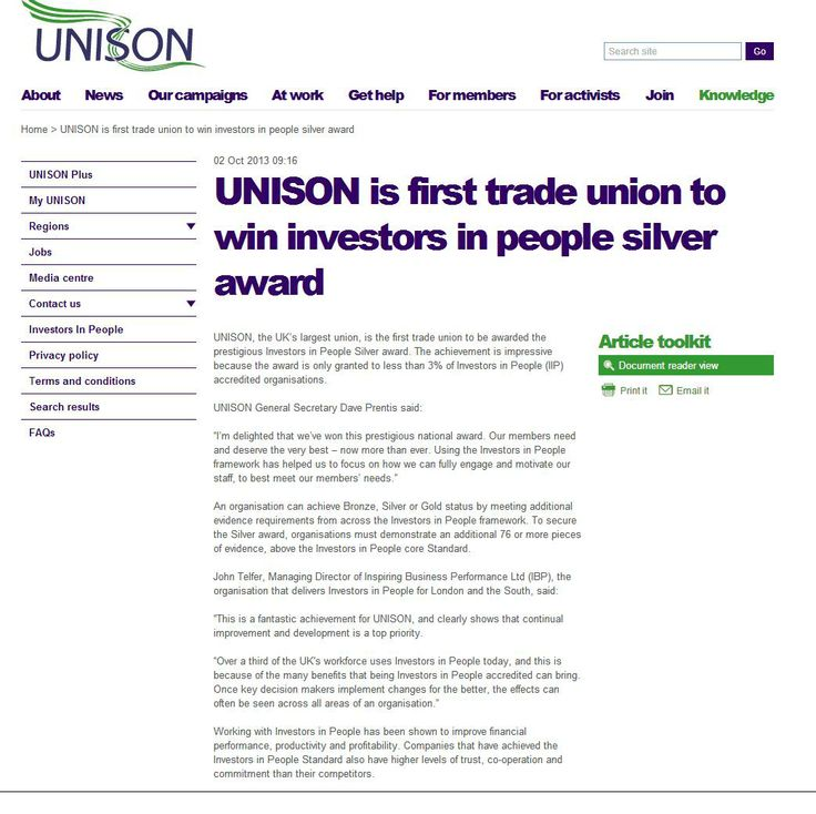 UNISON is first trade union to win IIP Silver