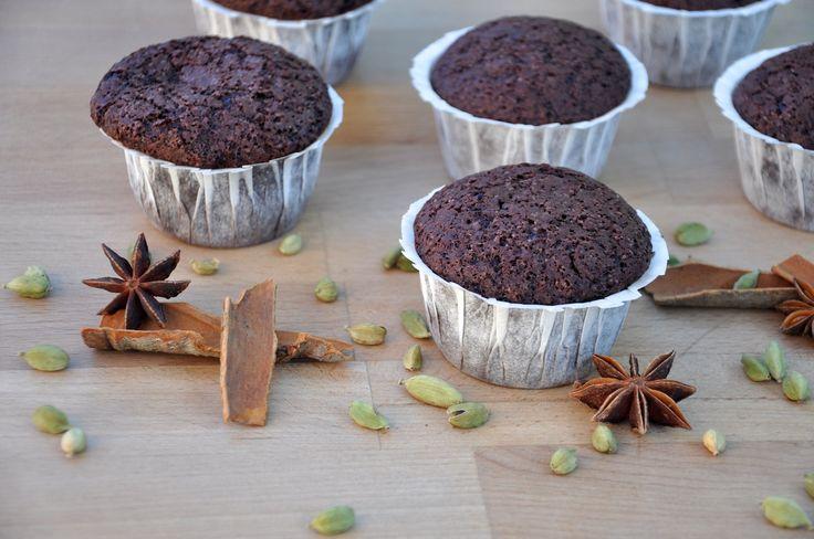 Schoko Chai Muffins {Muffins de Chocolate con Especias Indias}