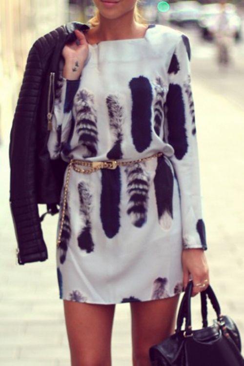 Tail Print Square Neck Long Sleeve Dress