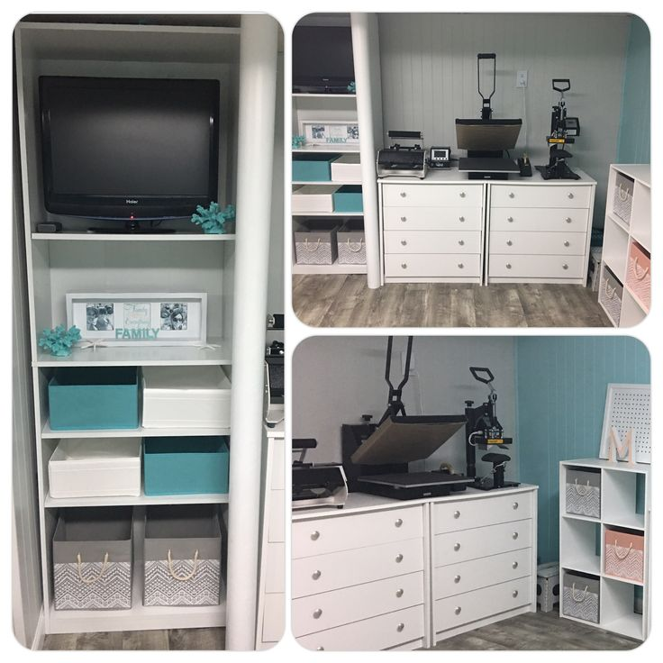 Craft Room heat press area and bookcase with more storage The dressers drawers are perfect for