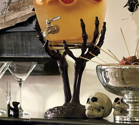 Skeleton Hand Drink Dispenser Stand from Pottery Barn: Halloween Parties, Drink Dispenser, Punch Bowls, Hands Drinks, Halloween Decor, Halloween Drinks, Skeletons Hands, Pottery Barns, Drinks Dispenser