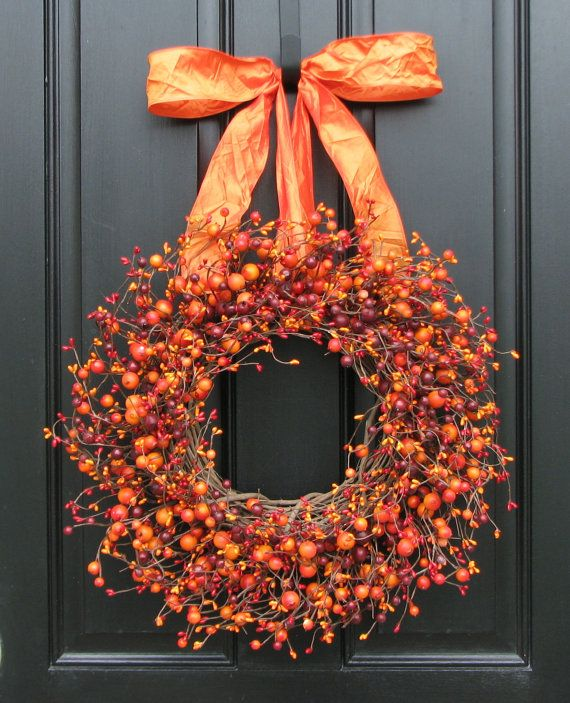 Fall Wreath - Harvested Berries - Autumn Decorations - Orange Berry Wreaths - Door Wreath