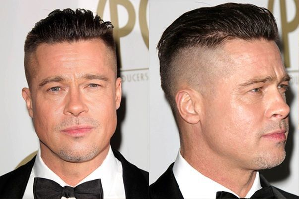 hair style for balding men brad pitt fury slicked back hairstyle 218 česy 8231 | b1bcfc61b19e11b13318a7200b911909 slicked back hairstyles mens hairstyle