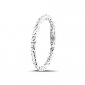 Witgouden diamanten alliance - Gedraaide combinatie ring in wit goud