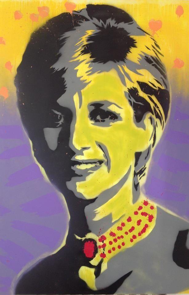 Lady D Oil & Spray on canvas